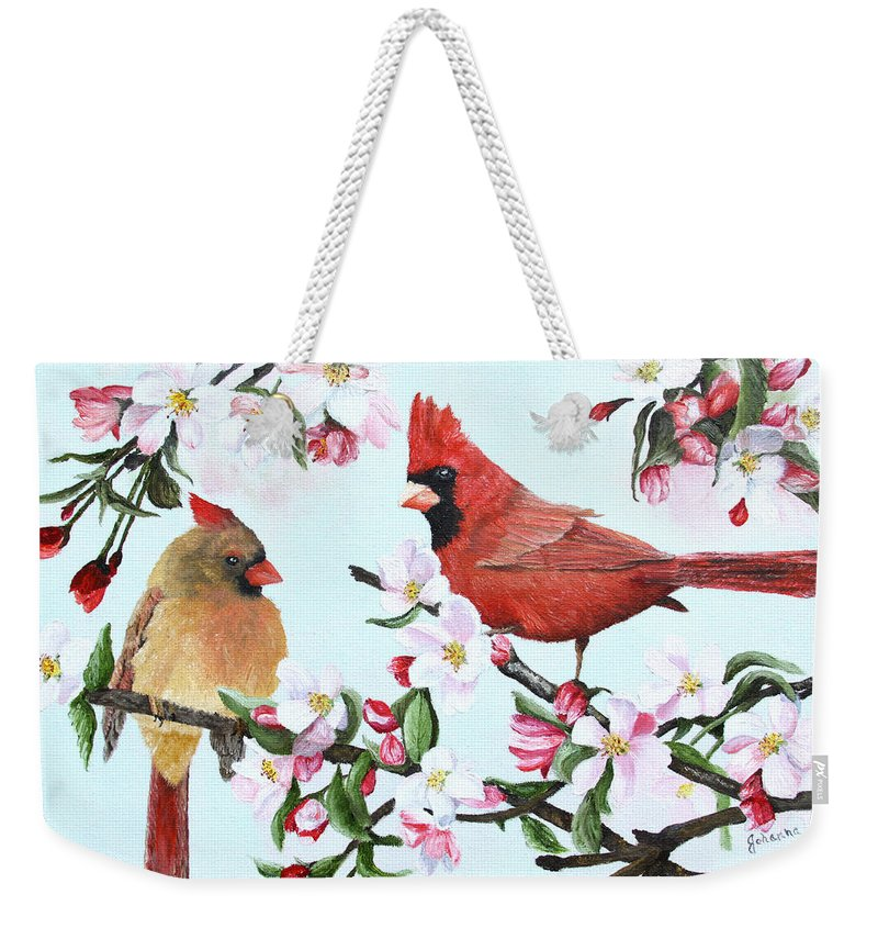 Bird Weekender Tote Bag featuring the painting Cardinals And Apple Blossoms by Johanna Lerwick