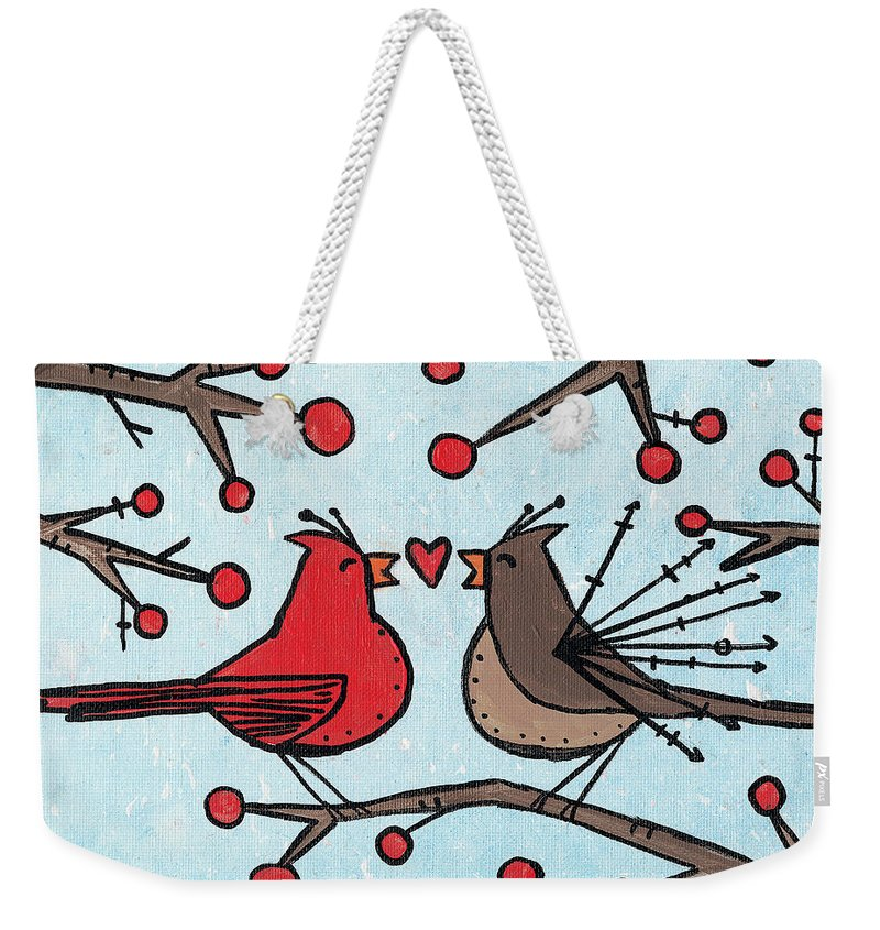 Cardinals Weekender Tote Bag featuring the painting Cardnials In Love by Breanna Jacobs