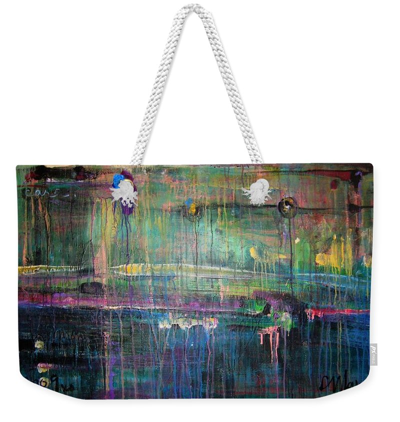 Abstract Weekender Tote Bag featuring the painting Care by Laurie Maves ART