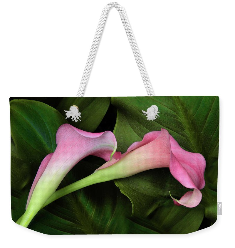 Calla Lily Weekender Tote Bag featuring the photograph Caress by Jessica Jenney