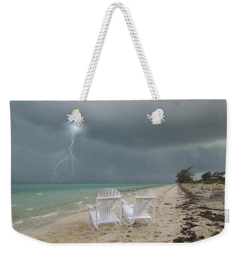 Adirondack Weekender Tote Bag featuring the digital art Caribbean Adirondacks by Betsy Knapp