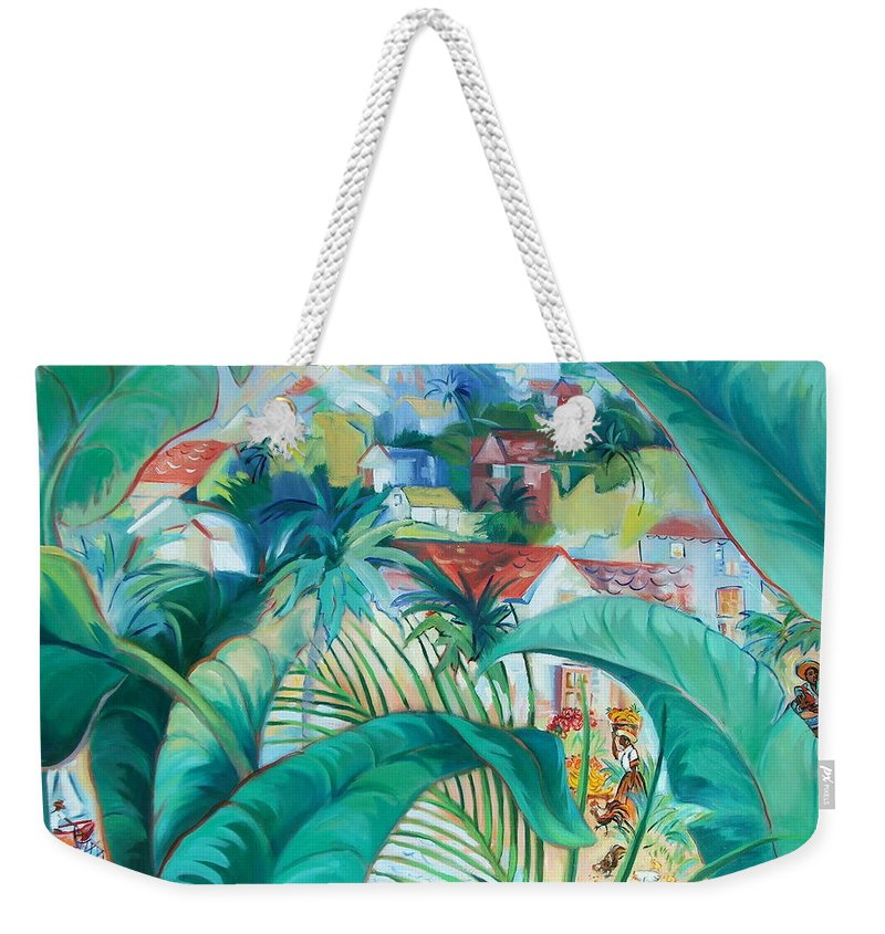 Caribbean Figures Weekender Tote Bag featuring the painting Caribbean Fantasy by Dianna Willman