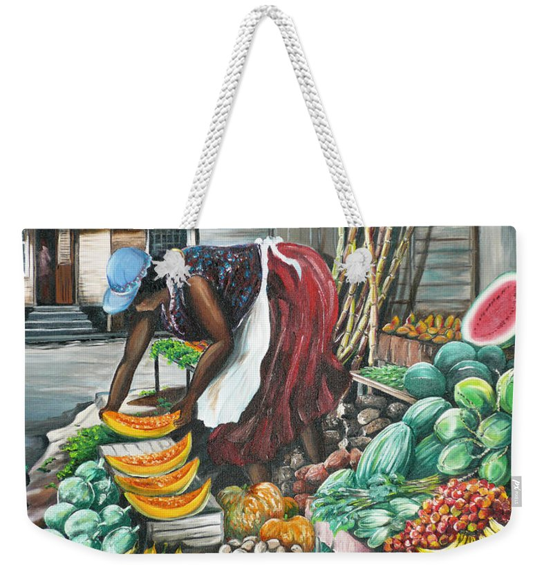 Caribbean Painting Market Vendor Painting Caribbean Market Painting Fruit Painting Vegetable Painting Woman Painting Tropical Painting City Scape Trinidad And Tobago Painting Typical Roadside Market Vendor In Trinidad Weekender Tote Bag featuring the painting Caribbean Market Day by Karin Dawn Kelshall- Best