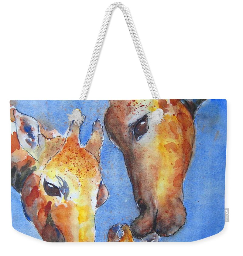 Giraffes Weekender Tote Bag featuring the painting Caring Hearts by Corynne Hilbert