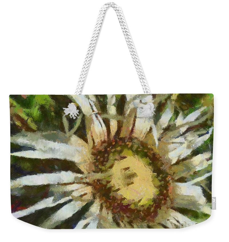 Botanical Weekender Tote Bag featuring the painting Carline Thistle by Dragica Micki Fortuna