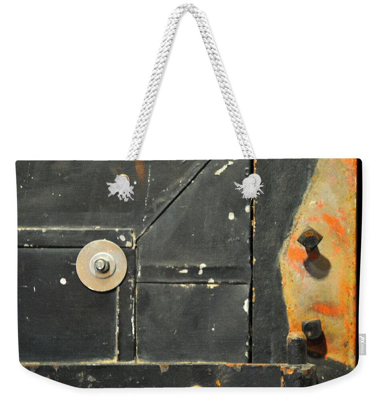 Firedoor Weekender Tote Bag featuring the photograph Carlton 10 - Firedoor Detail by Tim Nyberg