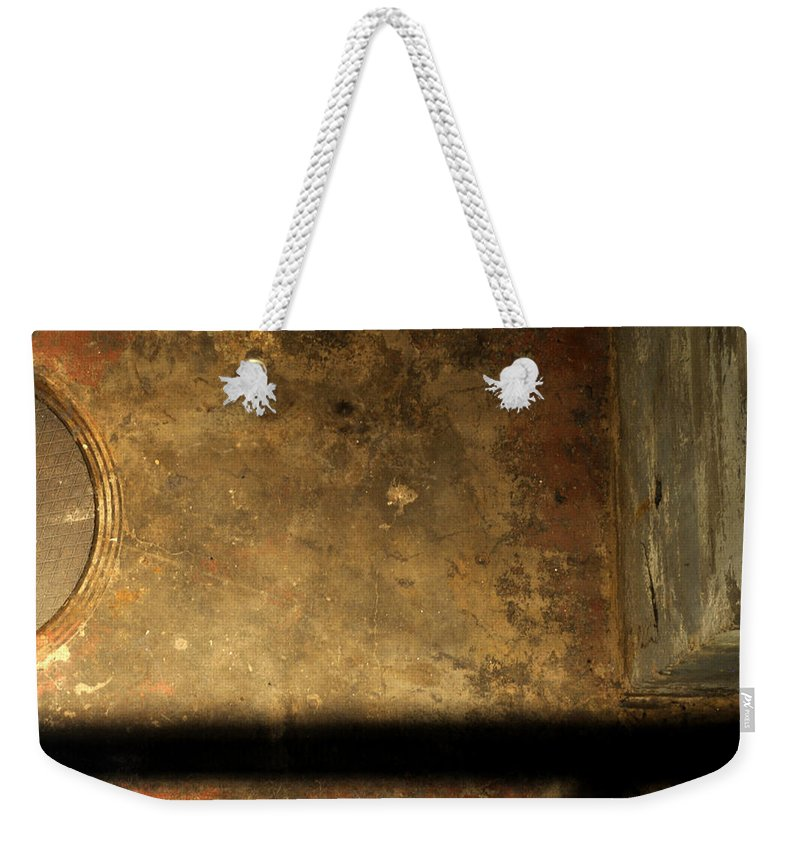 Manhole Weekender Tote Bag featuring the photograph Carlton 13 - Abstract From The Bridge by Tim Nyberg