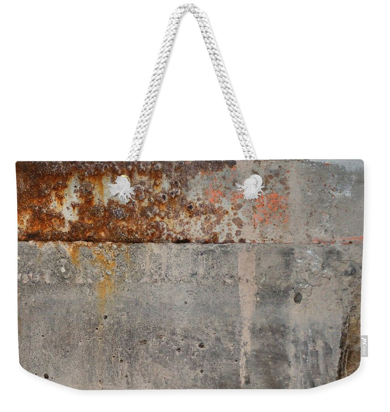 Concrete Weekender Tote Bag featuring the photograph Carlton 16 Concrete Mortar And Rust by Tim Nyberg