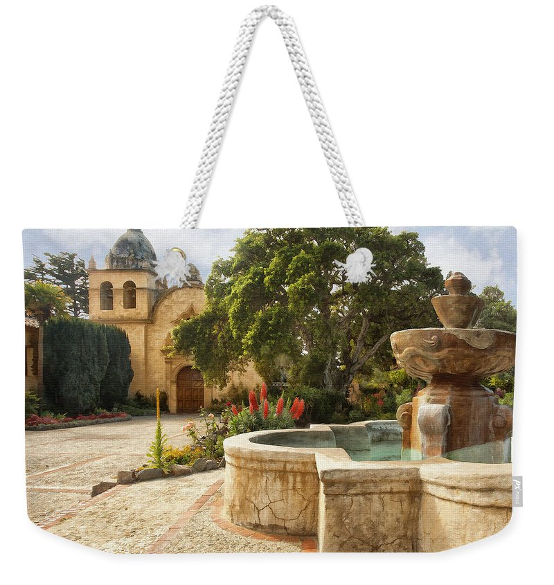 Mission Weekender Tote Bag featuring the digital art Carmel Church And Fountain by Sharon Foster