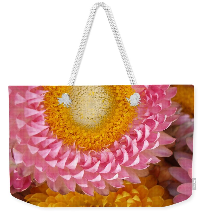 Flower Weekender Tote Bag featuring the photograph Carmel Flower by Sarah Madsen