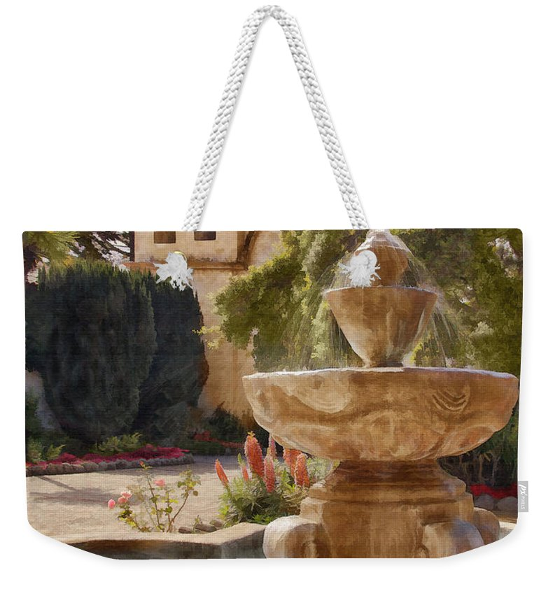 Mission Weekender Tote Bag featuring the digital art Carmel Fountain Courtyard by Sharon Foster