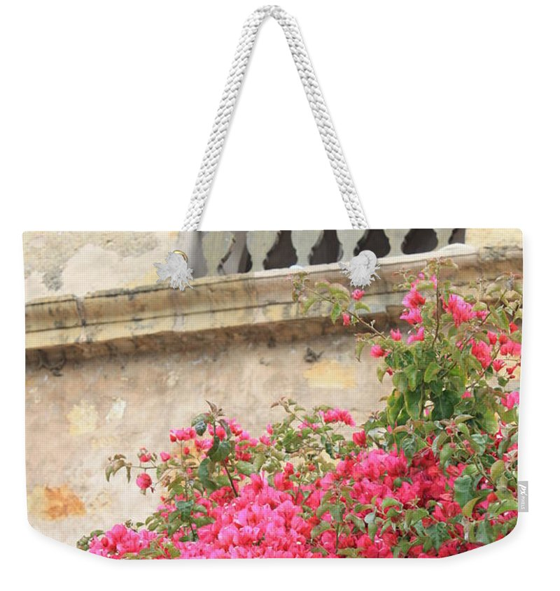 Carmel-by-the-sea Weekender Tote Bag featuring the photograph Carmel Mission Bell by Carol Groenen