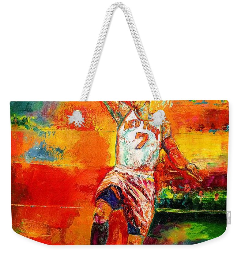 Carmel Anthony Basketball New York Knicks Weekender Tote Bag featuring the painting Carmelo Anthony New York Knicks by Leland Castro