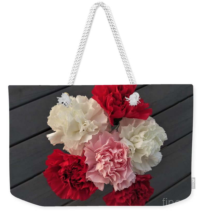 Carnation Weekender Tote Bag featuring the photograph Carnations by Scenic Sights By Tara