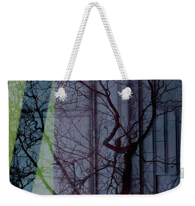 Carnegie Window Reflection Weekender Tote Bag featuring the photograph Carnegiewindowreflect by Mary Kobet