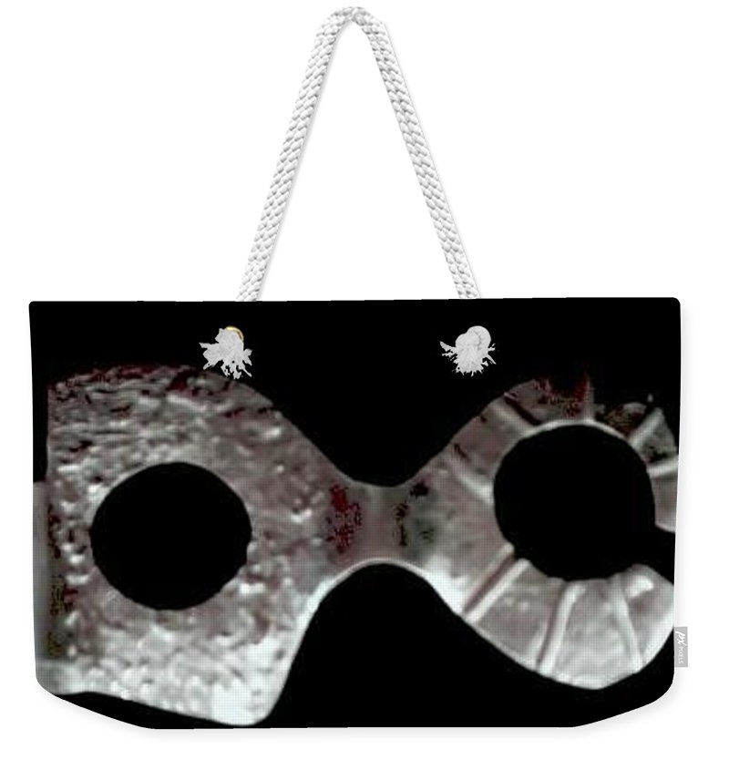 Carnival Type Face Mask For Wearing In .999 Fine Silver Weekender Tote Bag featuring the photograph Carnival 002 by Robert aka Bobby Ray Howle