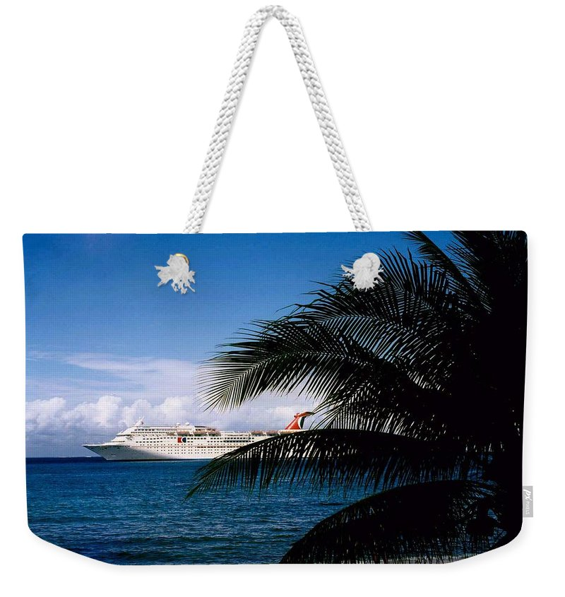 Druise Weekender Tote Bag featuring the photograph Carnival Docked At Grand Cayman by Gary Wonning