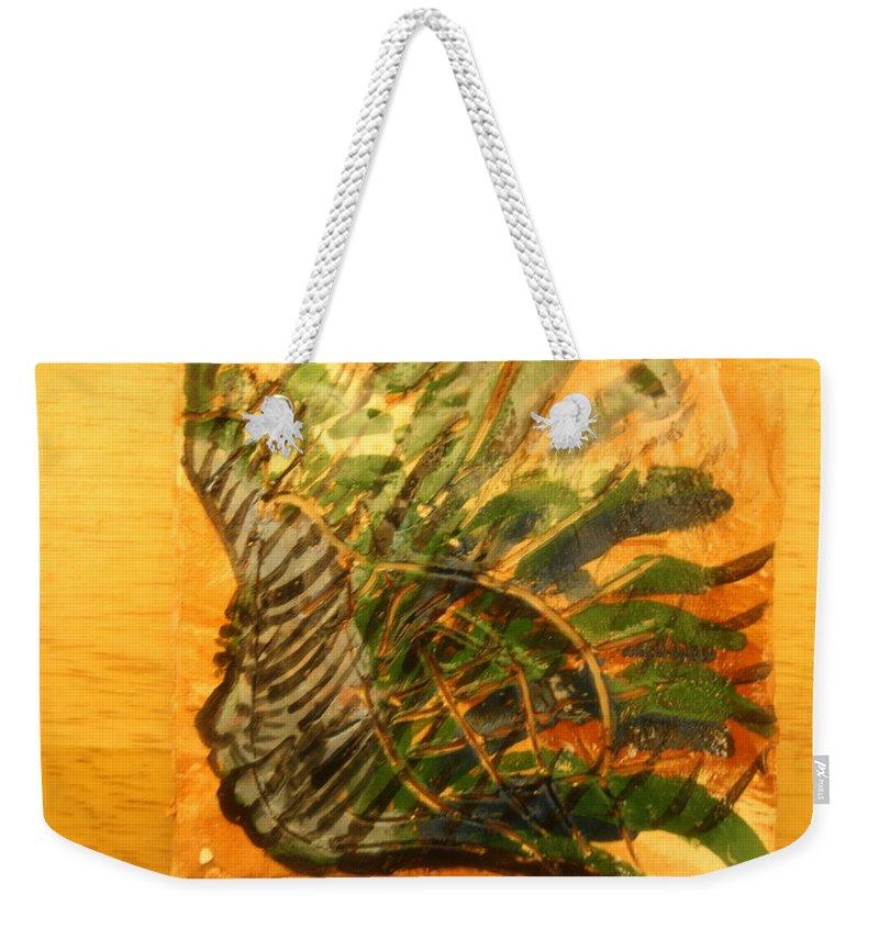 Jesus Weekender Tote Bag featuring the ceramic art Carnival Dreams - Tile by Gloria Ssali