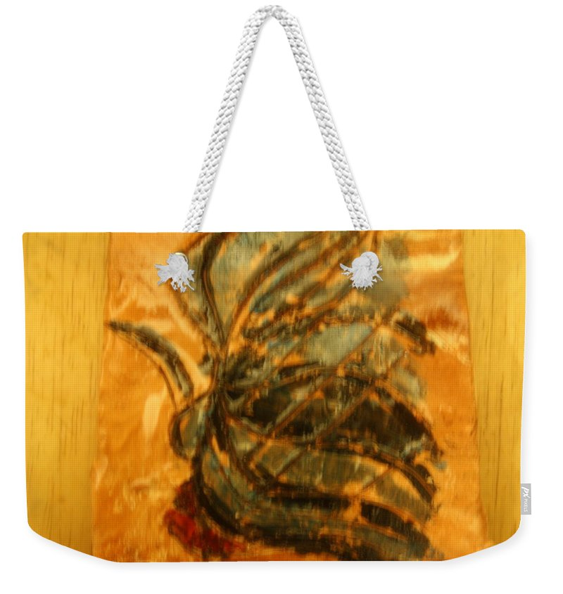 Jesus Weekender Tote Bag featuring the ceramic art Carnival Over - Tile by Gloria Ssali