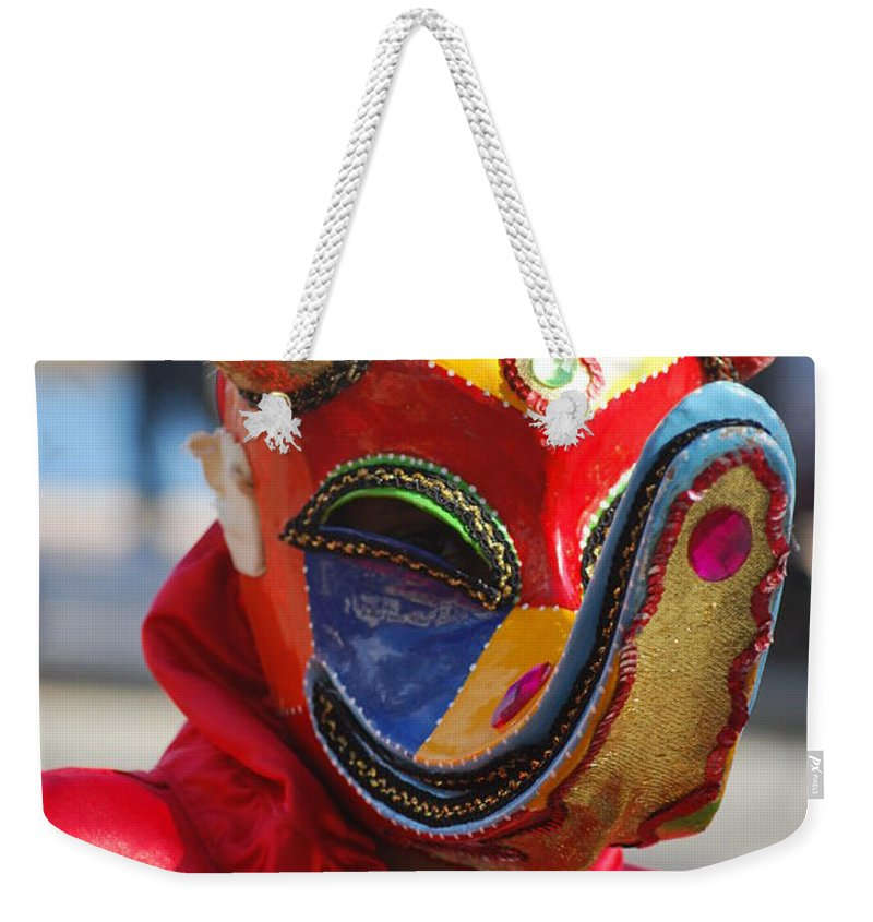Weekender Tote Bag featuring the photograph Carnival Red Duck Portrait by Heather Kirk