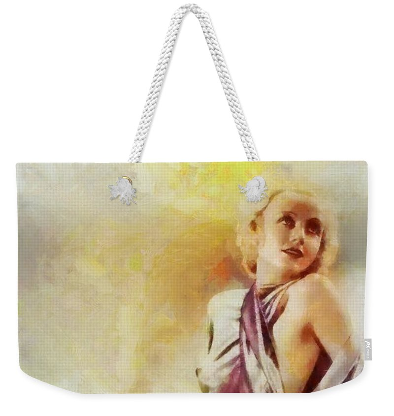 Cinema Weekender Tote Bag featuring the painting Carole Lombard, Vintage Hollywood Actress by Sarah Kirk