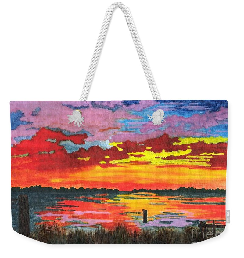 Original Painting Weekender Tote Bag featuring the painting Carolina Sunset by Patricia Griffin Brett