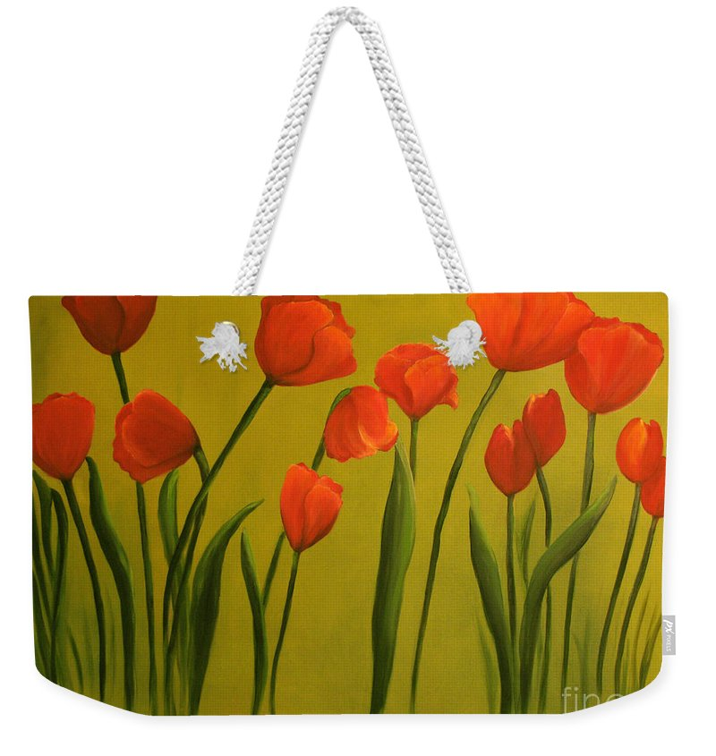 Red Weekender Tote Bag featuring the painting Carolina Tulips by Carol Sweetwood