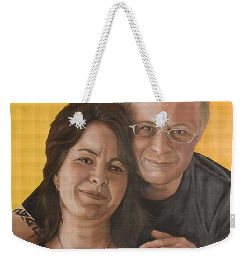 Portrait Weekender Tote Bag featuring the painting Caroline And Rob by Rob De Vries
