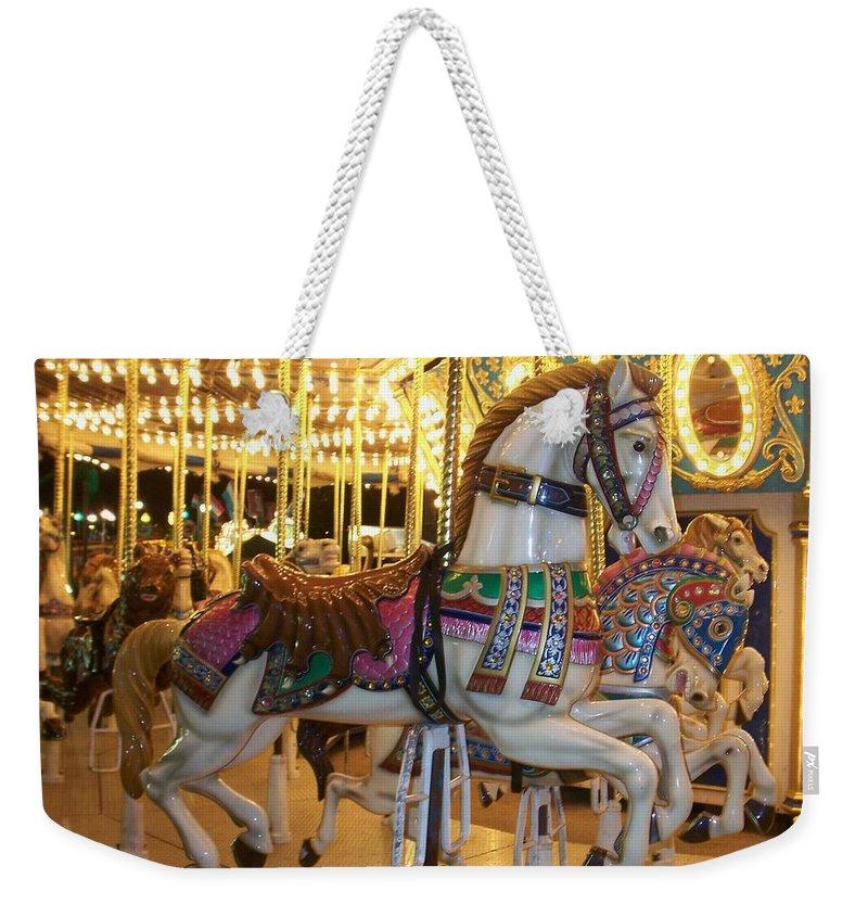 Carosel Horse Weekender Tote Bag featuring the photograph Carosel Horse by Anita Burgermeister