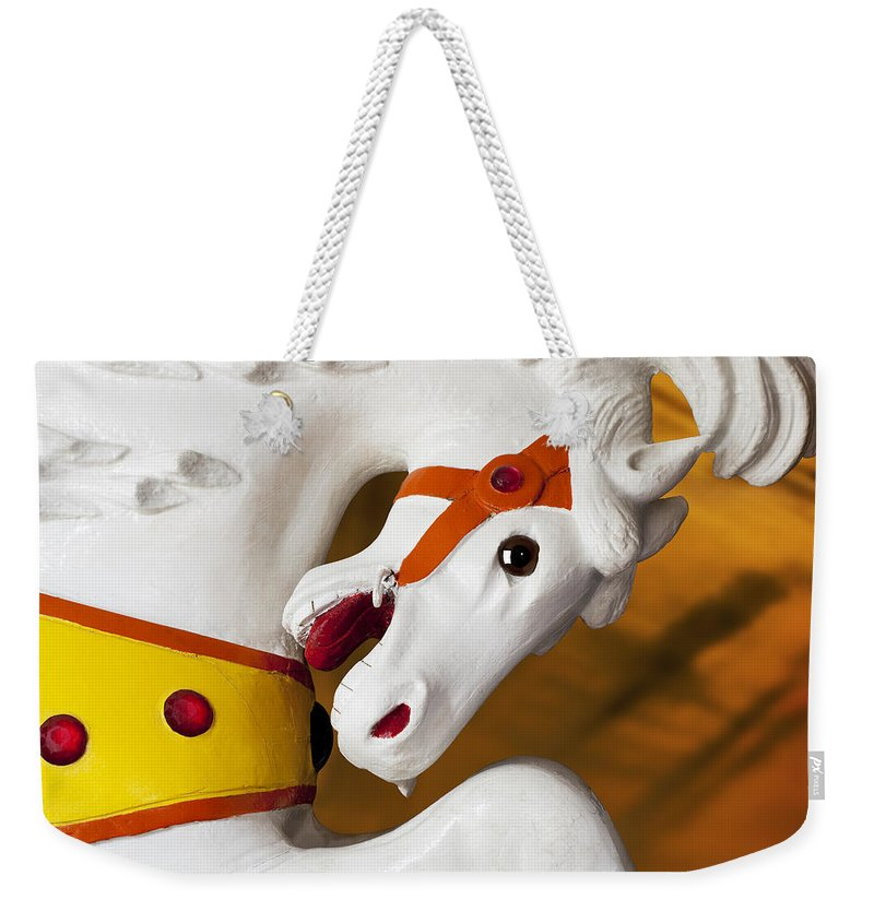 Carousel Weekender Tote Bag featuring the photograph Carousel Horse 1 by Kelley King