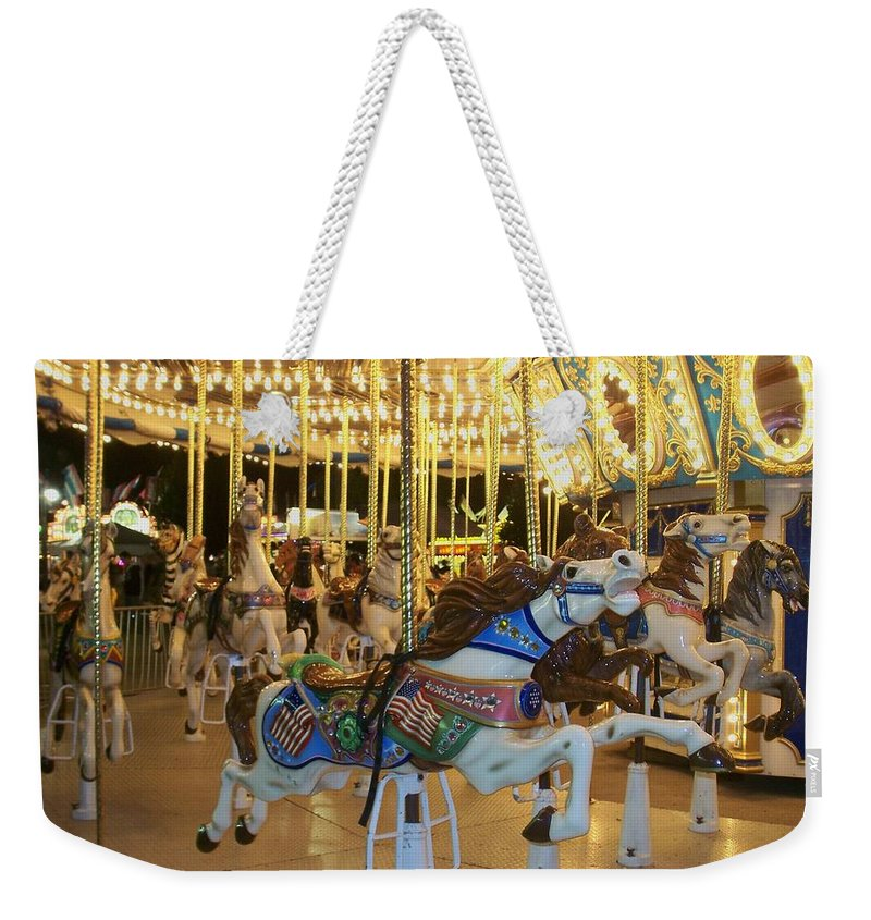 Carousel Horse Weekender Tote Bag featuring the photograph Carousel Horse 3 by Anita Burgermeister