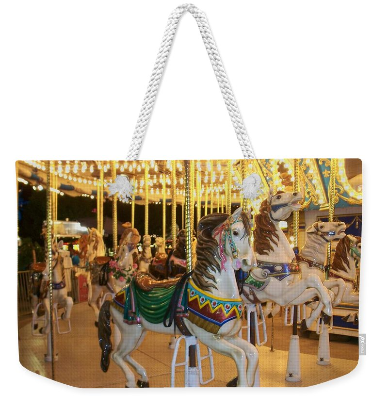 Carousel Horse Weekender Tote Bag featuring the photograph Carousel Horse 4 by Anita Burgermeister