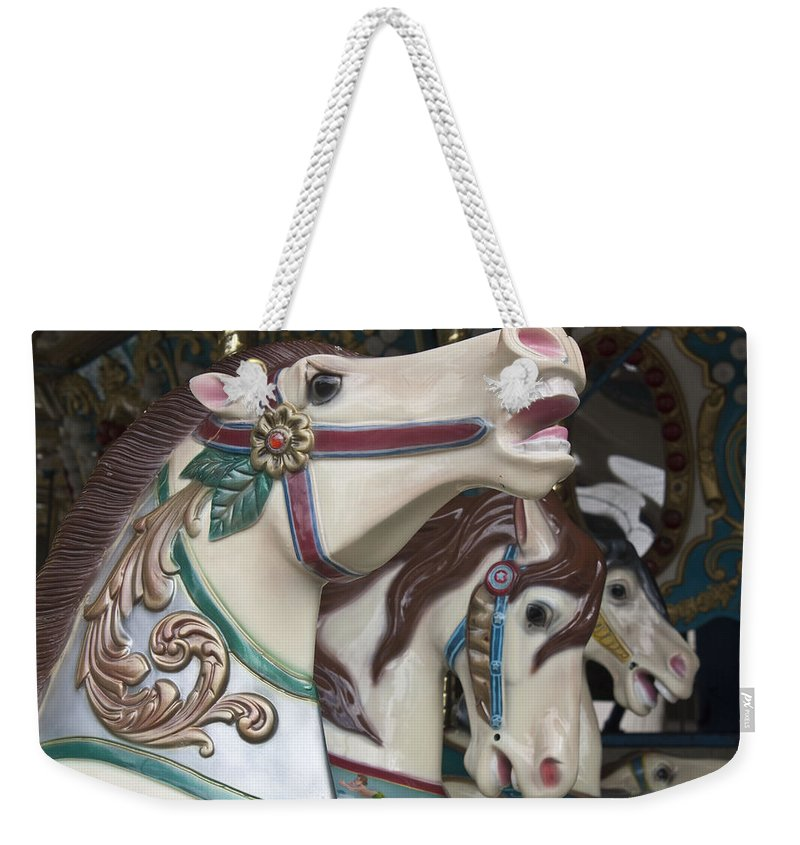 Carousel Weekender Tote Bag featuring the photograph Carousel Horse by Donna Walsh