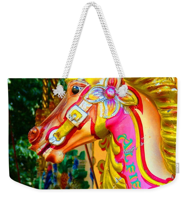 Alfie Weekender Tote Bag featuring the photograph Carousel Horse London Alfie England by Heather Lennox
