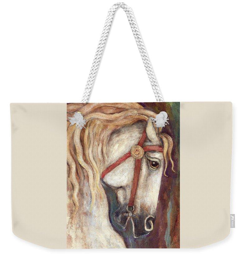 Horse Painting Weekender Tote Bag featuring the painting Carousel Horse Painting by Frances Gillotti