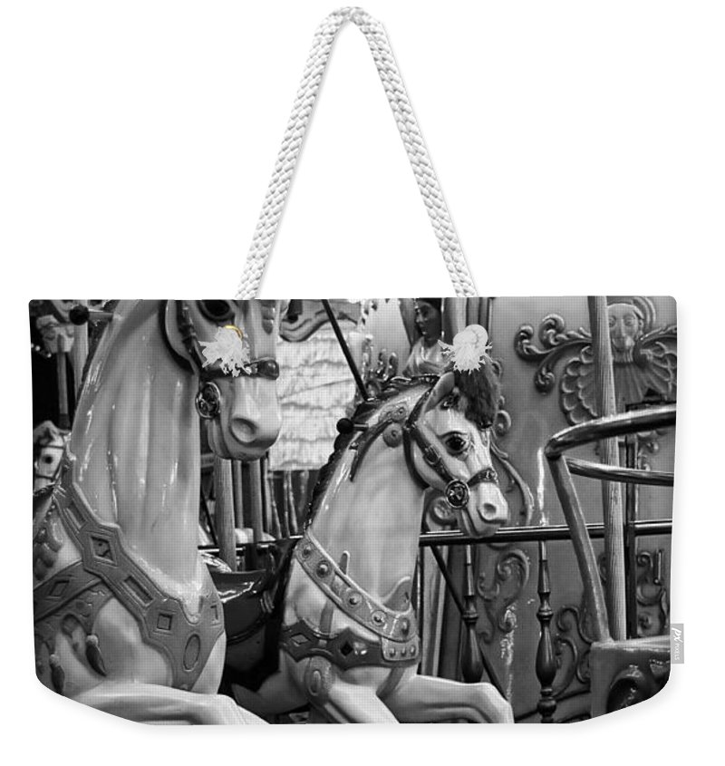 Carousel Weekender Tote Bag featuring the photograph Carousel Horses No. 1 by Tammy Wetzel