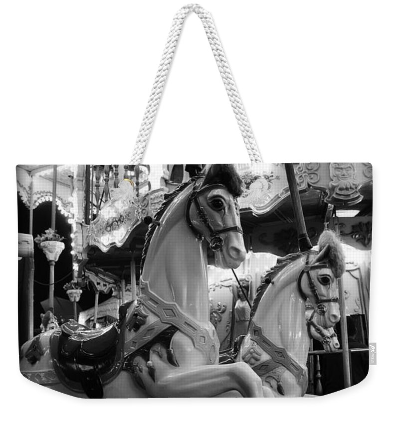 Carousel Weekender Tote Bag featuring the photograph Carousel Horses No.2 by Tammy Wetzel