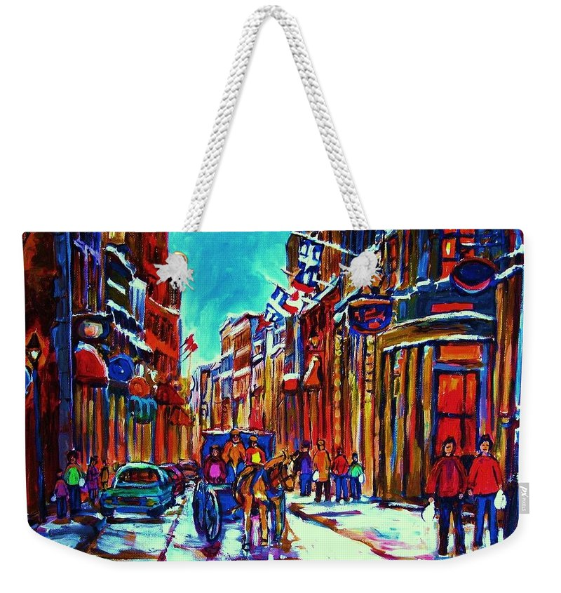 Old Montreal Weekender Tote Bag featuring the painting Carriage Ride Through The Old City by Carole Spandau