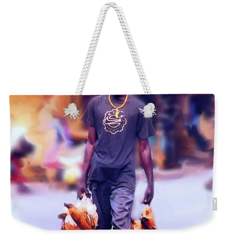 Dakar Weekender Tote Bag featuring the photograph Carrying Chickens To Dakar by Wayne King