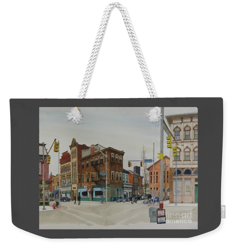 Pittsburgh Weekender Tote Bag featuring the painting Carson Street Southside Pittsburgh by Robert Bowden