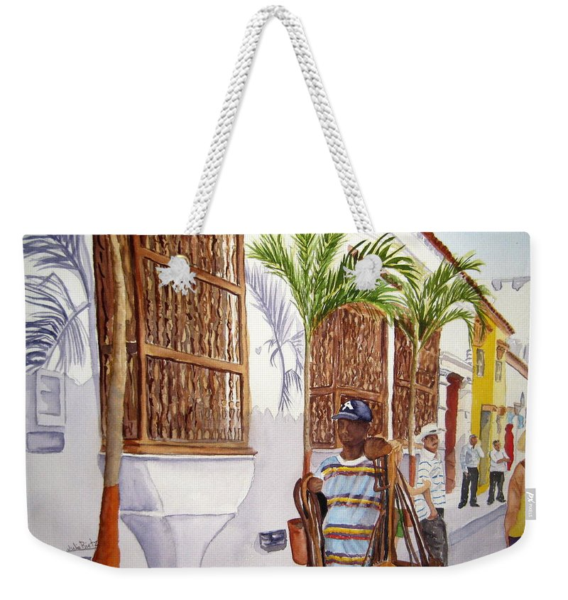 Landscape Weekender Tote Bag featuring the painting Cartagena Peddler I by Julia RIETZ