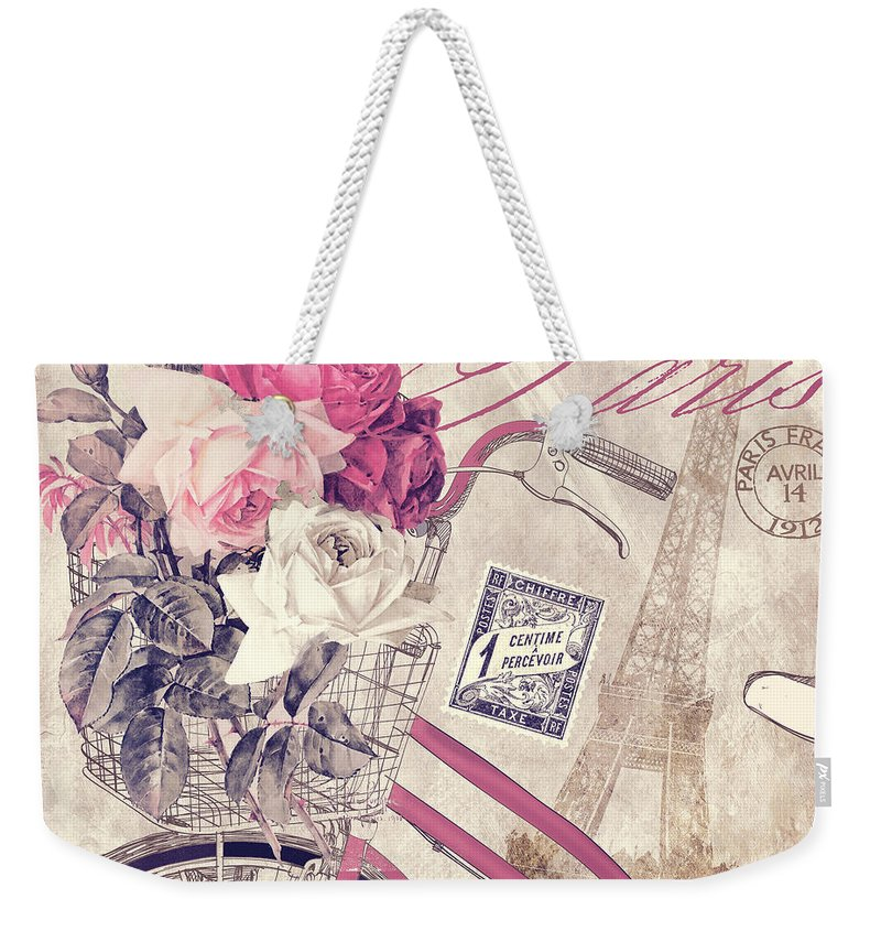 Paris Weekender Tote Bag featuring the painting Carte Postale Bicycle by Mindy Sommers
