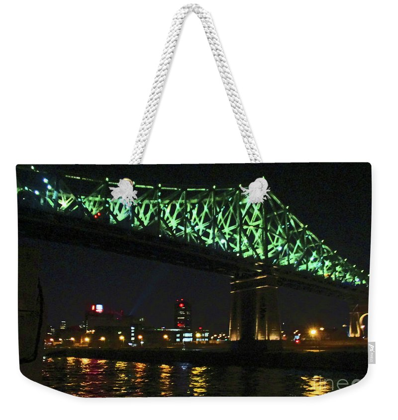 Jacques Cartier Bridge Weekender Tote Bag featuring the photograph Cartier Bridge Night by Randall Weidner