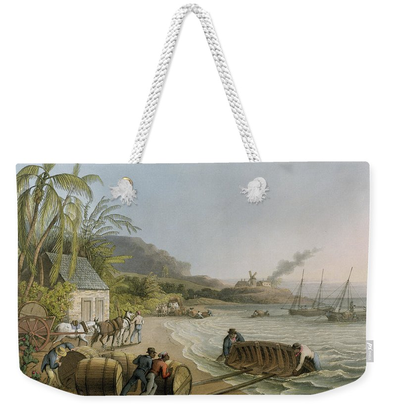 Carting Weekender Tote Bag featuring the painting Carting And Putting Sugar Hogsheads On Board by William Clark