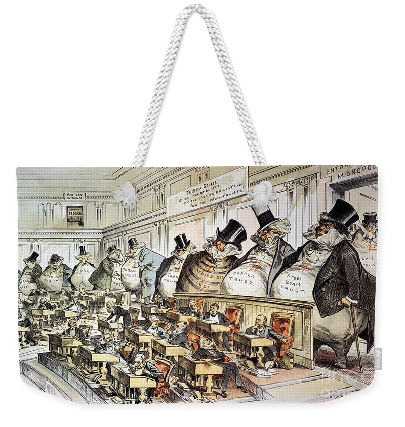 1889 Weekender Tote Bag featuring the photograph Cartoon: Anti-trust, 1889 by Granger