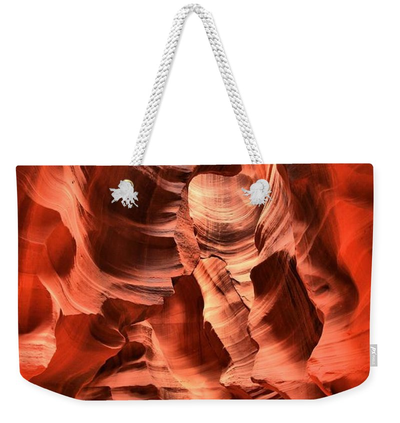 Antelope Canyon Weekender Tote Bag featuring the photograph Carved Canyon Wals by Adam Jewell