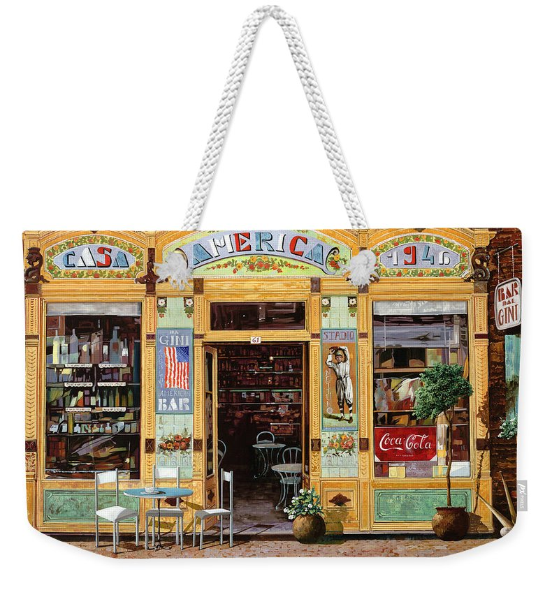 Coffe Shop Weekender Tote Bag featuring the painting Casa America by Guido Borelli