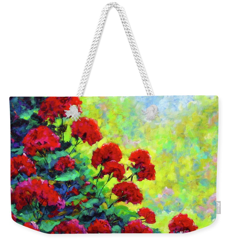 Art Original Weekender Tote Bag featuring the painting Cascade Of Geraniums by Richard T Pranke