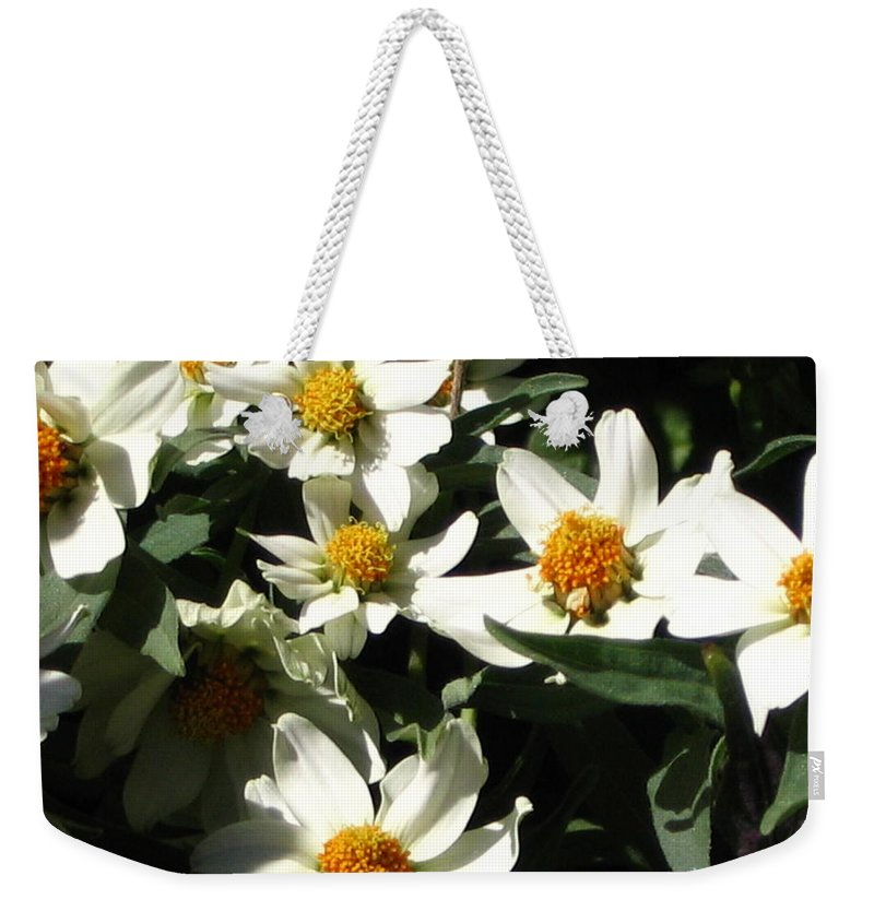Floral Weekender Tote Bag featuring the photograph Cascade Of White Flowers by Line Gagne