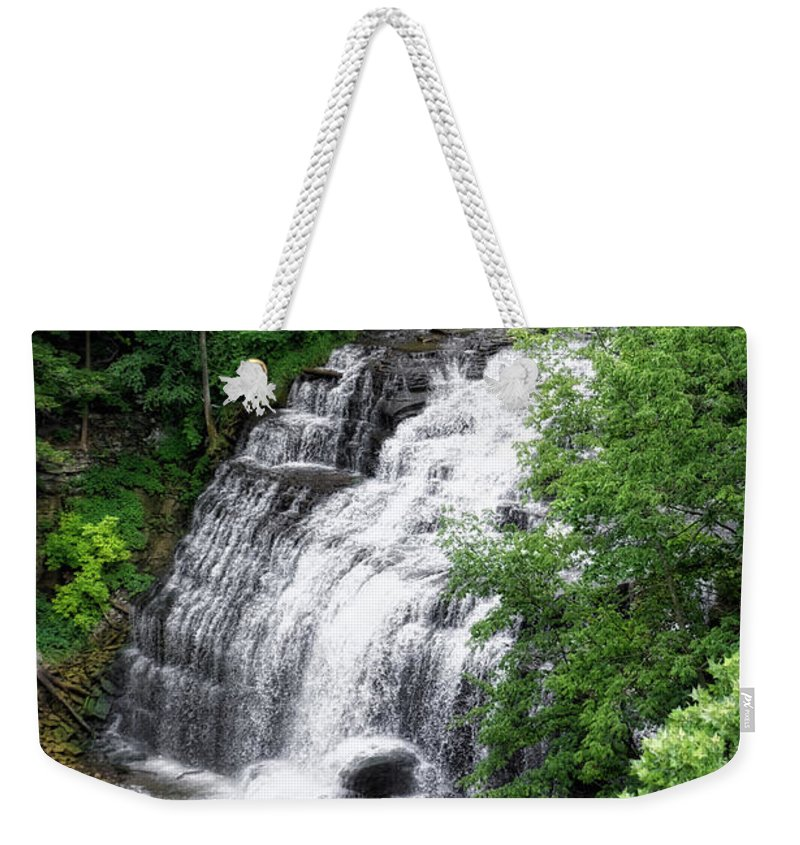Cornell University Weekender Tote Bag featuring the photograph Cascadilla Waterfalls Cornell University Ithaca New York 03 by Thomas Woolworth